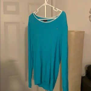 Teal with white accent cable sweater